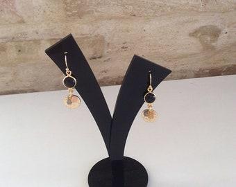 Black drop earrings/ Black onyx earrings/ Moonstone earrings/ Semiprecious stone earrings/ Small drop earrings/ Gold plated earrings/ Gift