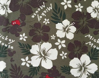 """Half Yard Cotton Fabric 57""""(147cm) Wide_CFM22 Mickey Mouse & Floral on Coffee"""