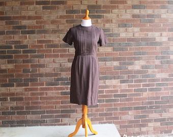 1970s Carol Brent Brown Day Dress