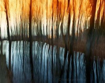 Large photography Between fire and ice Orange wall art  16x24 inches fine art print Modern abstract nature wall decor Water blue art