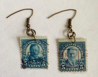 Blue Stamp Earrings