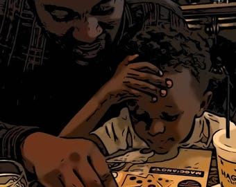 Father And Son Print, Reading with Dad, African American Art, Black Art, Gifts For Dad, Wall Art, Framed Art For Dad, Father And Son