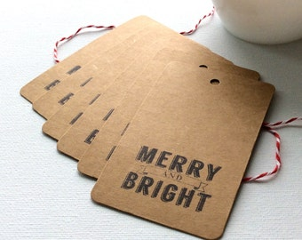 20 Merry and Bright gift tags, Christmas gift tags, holiday gift tags, Kraft gift tags, Christmas packaging, Christmas gift wrap