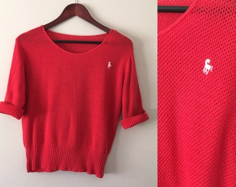 Vintage Medium Red light weight sweater loose knit pullover horse emblem eighties
