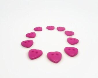10 heart buttons, hot pink buttons, hot pink hearts, sewing supplies, craft buttons, children's buttons, sewing buttons uk button supplies