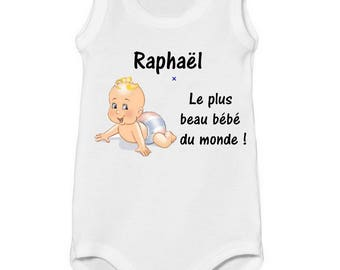 Onesie tank top the baby of the world personalized with name