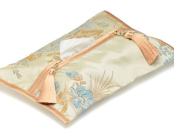 Tissue box cover handmade Kleenex holder box fabric case for handkerchiefs Beige-blue