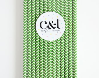 Green Chevron Decorative Fun Paper Straws (Set of 25)