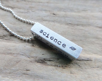 Science Reason Bar Tag Pendant- Atheist Skeptic Pendant- Stamped Science Freethinker Jewelry- Solid Bar Aluminum Necklace