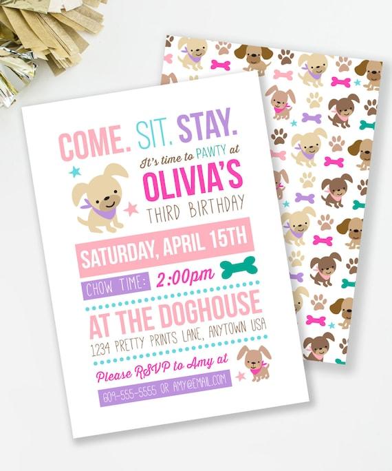 Puppy birthday invitation puppy pawty girl birthday party like this item filmwisefo Choice Image