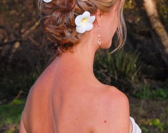 BRIDAL HAIR FLOWERS, Tropical hair pins, Hawaiian Plumeria, Crystal center, Tropical Hair Clip, Fascinator, Beach Wedding, hair Accessory