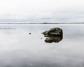 Irish Landscape Photograph - Lough Ennell Stone - Pick your print size - Calm Art - Beautiful Ireland - County Westmeath
