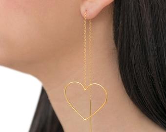 Threader earrings, pull through earrings, mother gift, statement jewelry, heart earrings, unusual earrings, chain earrings gift for women