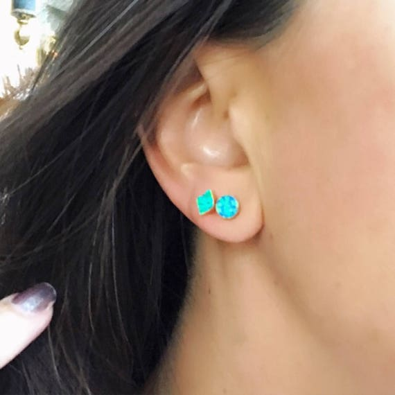 Blue Opal Studs Earrings, Opal earrings, blue opal earrings, October birthstone, Libra, opal jewelry, boho jewelry