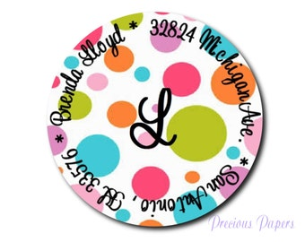 Personalized PRINTED Polka dot round stickers round Polka dot return address labels round polkla dot favor sticker