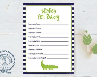 Wishes for Baby Alligator Baby Shower Game - Lime Green and Navy Blue Printable Baby Shower Game - Baby Wishes - Instant Download
