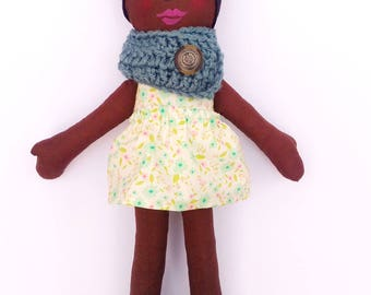 SALE Cloth Doll African American Rag Doll -Ready To Ship Fabric Doll  Soft Doll Easter Doll Gifts Under 75 Ethnic Doll Black Doll
