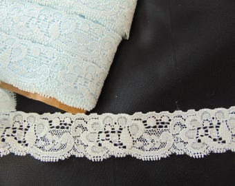 10 metres of 25mm  vintage Nottingham baby blue stretch lace
