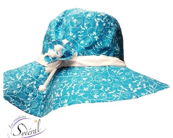 Ladies summer hat, turquoise coton hat, beach hat, travel hat, big capeline, women summer hat, women capeline, sun hat, sun capeline,