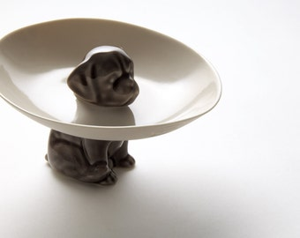 The dog bowl, porcelain bowl held up by a cute dog