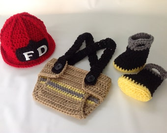 Baby Firefighter Fireman Hat Outfit 4 PC Crochet Diaper Cover Set with Suspenders & Boots Newborn  Photography Prop