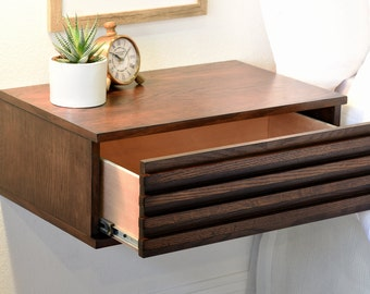 Modern Hanging Floating Wall Mount Nightstand Drawer - Lotus Nightstand - Russet Brown