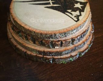 Rustic wood burned sports team coasters nba nfl nhl mlb customized personalized