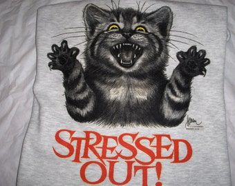 Stressed Out Kitty - Gildan Ash Gray Crew Neck Sweatshirt