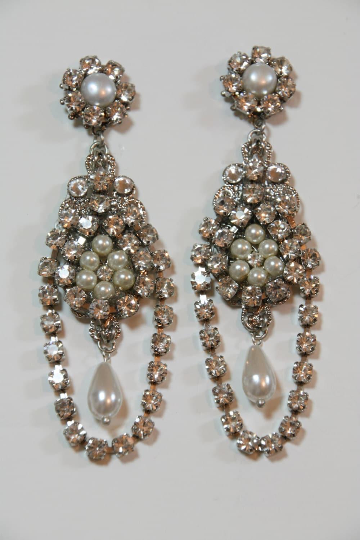 Chandelier bridal earringswedding earrings pearl zoom arubaitofo Images