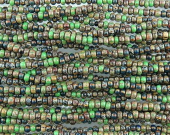 5/0 Aged Opaque Woodland Forret Picasso Mix Czech Glass Seed Beads - 20 Inch Strand (AW260) SE