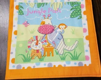 """Kids and Baby Soft Cloth Book - """"Jungle Pals"""" - 10 Page Children's Book"""