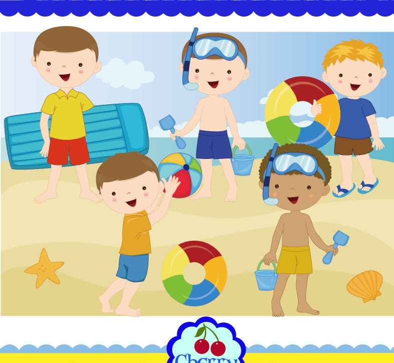 Summer time beach kids for boys clip art set-Personal and