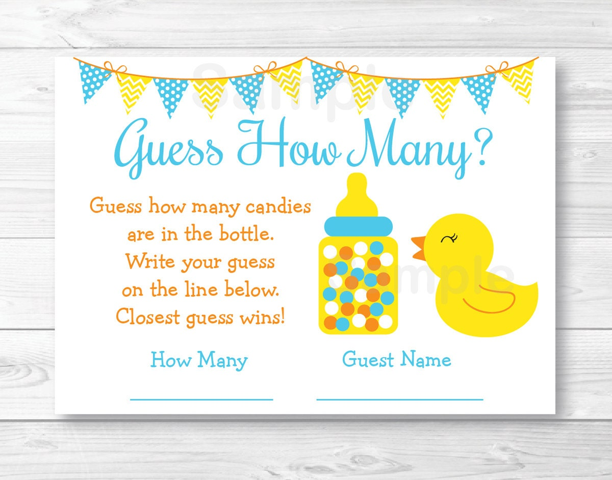 Rubber Duck Guess How Many Baby Shower Game / Rubber Duck Baby