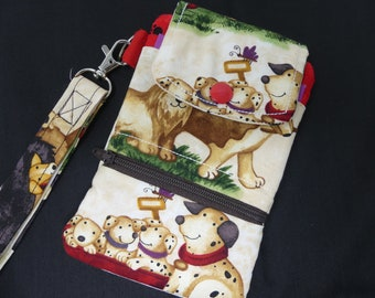 Fabric Dog Smartphone Wallet Case Puppy Wristlet Travel Purse Handmade Small