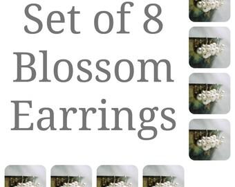 Ensemble de huit perles Swarovski boucles d'oreilles, Bridal cadeau fête, mariage boucles d'oreilles, boucles d'oreilles 8 demoiselles d'honneur, demoiselles d'honneur cadeau nuptiale boucles d'oreilles