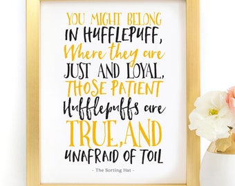 Harry Potter Hogwarts House Hufflepuff Traits Quote Poster Typography Art Print