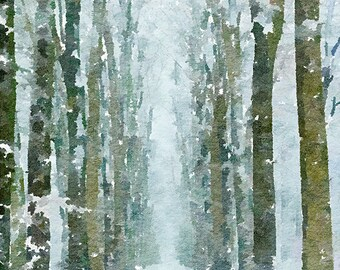 Winter Trees Original Unique Brush Painting Mixed Media Painting 107