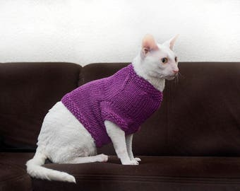 Merino sweather for catClothes for catsSphynx cat sweather Jumper for cats Purple merino wool sweather for pet