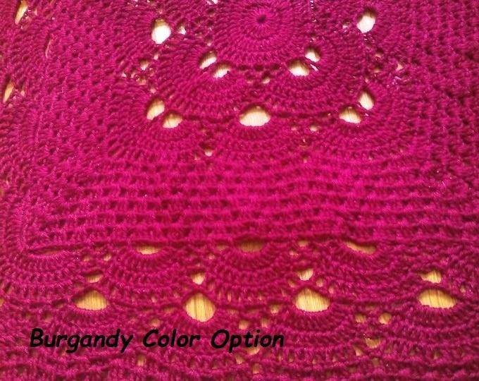 "50"" Square Yarn Blanket, Crochet Afghan, Burgundy Crochet Throw"