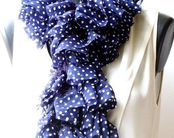 Pretty dots on Navy Blue chiffon ruffle crocheted scarf.