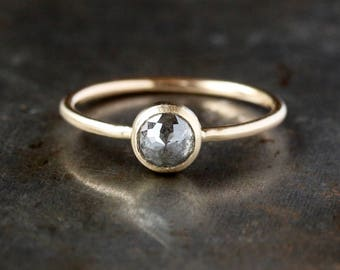 Rose Cut Diamond Ring, Unique Engagement Ring, Natural Color Gray Diamond, Brushed 14k Yellow Gold Engagement Band, Conflict Free