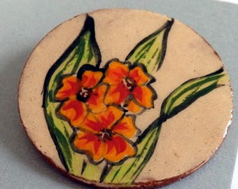 Handmade ceramic buttons -large  round orange red flowers handpainted pottery button C99