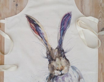 Adult wildlife Hare 100% Cotton Apron , contemporary designer apron made in uk