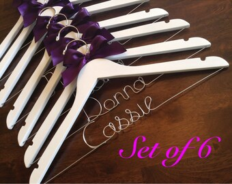 HUGE SALE Set of 6 Personalized Hangers/ Bride/ Wedding Dress Hanger/Bridal Gift/ bridal party GIFTS/ wire hanger/ wedding hanger