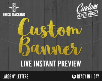 Custom Glitter Banner - Large Size cardstock premium cursive script decoration party