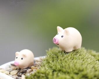 Miniature Pig Terrarium Figurine, Tiny Fat Cute Pig, Farm Animal, Terrarium Mini Garden Toy, Succulent Accessory