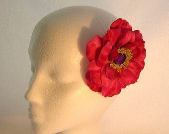 On Sale Full Bloom Rose Hair Clip in Deep Rose/Magenta  With a Sparkly Center