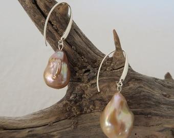 Large bronze baroque Pearl earrings