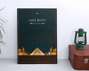 Visit Egypt – Starry Sky/Famous Sights poster Print