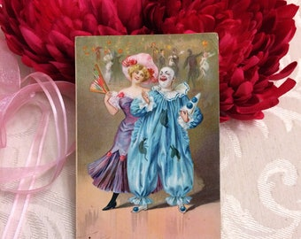 Beautiful Carnival Theme Antique Postcard, Pretty Lady Edwardian Era Clown Pierrot Raphael Tuck and Sons Vintage Post Card 1908 Pink Blue